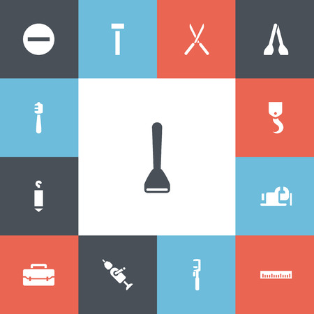 Set of 13 editable instrument icons. Includes symbols such as glass cutter, lifting, screw head and more. Can be used for web, mobile, UI and infographic design. 일러스트