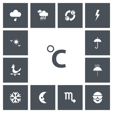Set of 13 editable climate icons. Includes symbols such as sleet, umbrella snowflake, flash and more. Can be used for web, mobile, UI and infographic design.