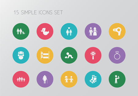 Set of 15 editable kin icons. Includes symbols such as lineage, wedding couple, pair of socks and more. Can be used for web, mobile, UI and infographic design. Ilustração