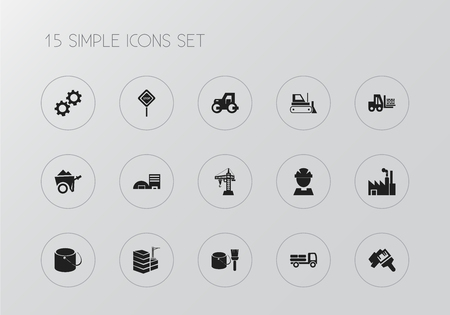Set of 15 editable building icons. Includes symbols such as tools, gear, factory and more. Can be used for web, mobile, UI and infographic design.