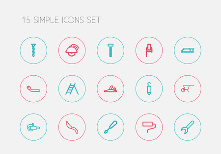 Set of 15 editable instrument icons line style. Includes symbols such as bolt, hardware, hook and more. Can be used for web, mobile, UI and infographic design. Illustration