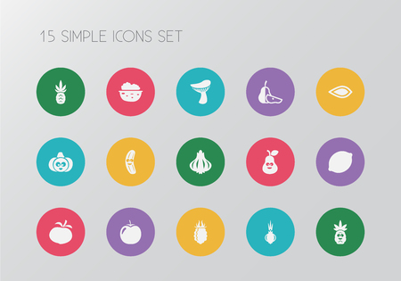 Set of 15 editable cookware icons. Includes symbols such as mushroom, walnut, almond and more. Can be used for web, mobile, UI and infographic design.
