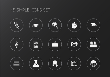 Set of 15 editable education icons. Includes symbols such as schoolgirl, school building, pupil and more. Can be used for web, mobile, UI and infographic design. Vettoriali