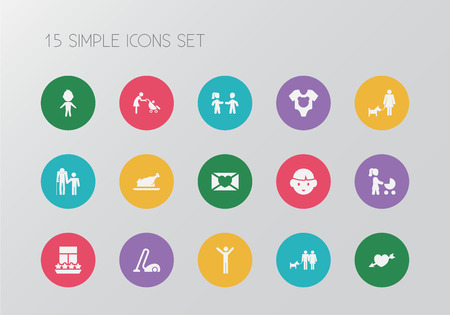 Set of 15 editable folks icons. Includes symbols such as boy, baby onesie, son and more. Can be used for web, mobile, UI and infographic design.