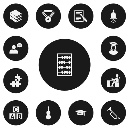Set of 13 editable teach icons. Includes symbols such as a b c block, library, study accomplishment and more. Can be used for web, mobile, UI and infographic design.