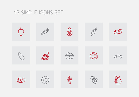 Set of 15 editable vegetable icons line style 일러스트