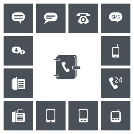Set of 13 editable phone icons. Includes symbols such as comment, office telephone, 24 hour servicing and more. Can be used for web, mobile, UI and infographic design. Фото со стока