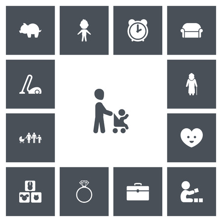 Set of 13 editable kin icons. Includes symbols such as family, piggy, animal and more. Can be used for web, mobile, UI and infographic design. Stock Photo