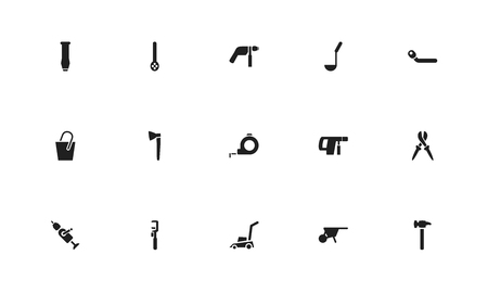 Set of 15 editable tools icons. Includes symbols such as drill, tape, wheel wrench and more. Can be used for web, mobile, UI and infographic design. 스톡 콘텐츠
