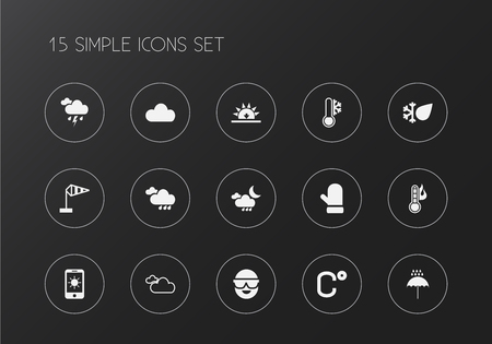Set of 15 editable climate icons. Includes symbols such as flood drop, phone, overcast and more. Can be used for web, mobile, UI and infographic design.