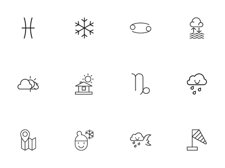 Set of 12 editable climate icons line style. Includes symbols such as drizzle, gemini, home and more. Can be used for web, mobile, UI and infographic design.