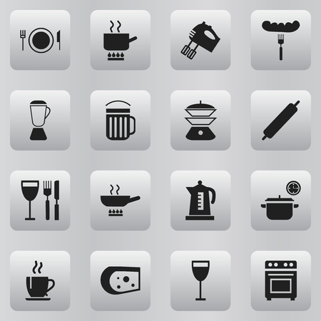 Set of 16 editable kitchen icons. Includes symbols such as wineglass, beer, tea and more. Can be used for web, mobile, UI and infographic design. Illustration