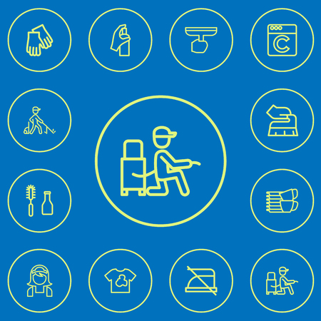 Set of 12 editable cleaning icons line style. Includes symbols such as chemical, warning, laundress and more. Can be used for web, mobile, UI and infographic design. Illusztráció