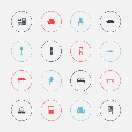 Set of 16 editable furniture icons. Includes symbols such as cupboard, bearings, seat and more. Can be used for web, mobile, UI and infographic design.