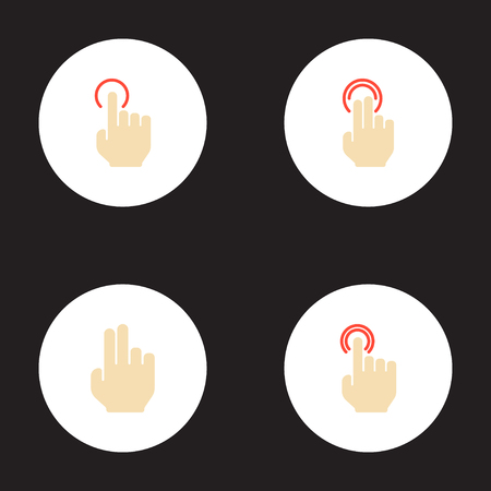 Set of gestures icons flat style symbols with double click, single tap, gesture and other icons for your web mobile app  design.