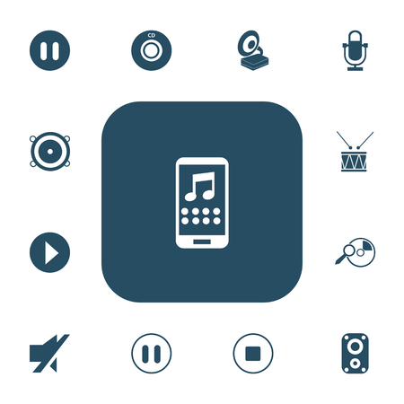 Set of 13 editable mp3 icons. Includes symbols such as pause, stop, timpano and more. Can be used for web, mobile, UI and infographic design. 向量圖像