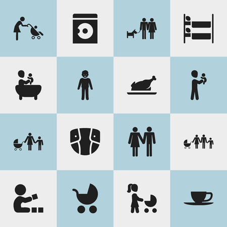 Set of 16 editable family icons. Includes symbols such as stroller info graphic design.