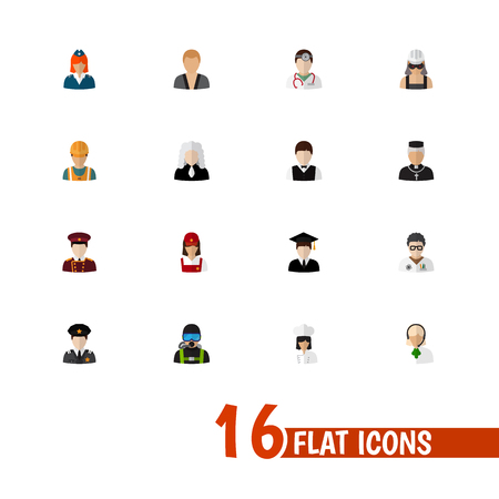 Set of 16 editable profession icons flat style. Includes symbols such as porter, doctor, cook and more. Can be used for web, mobile, UI and infographic design. Stock Photo