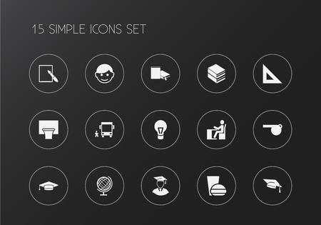 Ensemble de 15 icônes d'apprentissage modifiables. Comprend des symboles tels que disciple, jeu de panier, homme diplômé et plus encore. Peut être utilisé pour la conception Web, mobile, UI et infographique.