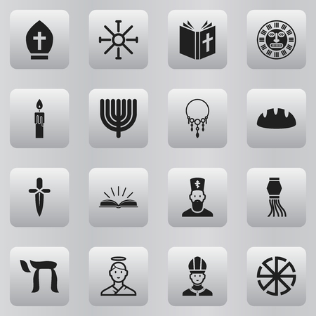 Set of 16 editable dyne icons. Includes symbols such as bread, necklace, chinese lantern and more. Can be used for web, mobile, UI and infographic design.