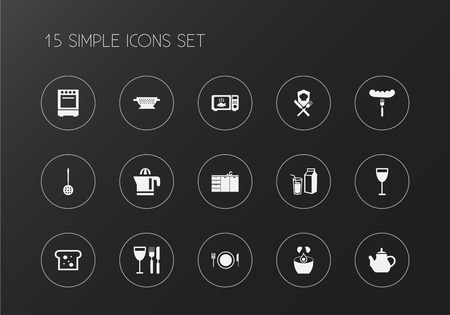 Set of 15 editable restaurant icons. Includes symbols such as squeezer, meal, milk and more. Can be used for web, mobile, UI and info-graphic design. Stock Illustratie