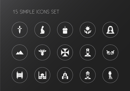 Set of 15 editable dyne icons. Includes symbols such as mosque, nun, sun in hand. Can be used for web, mobile, UI and infographic design.