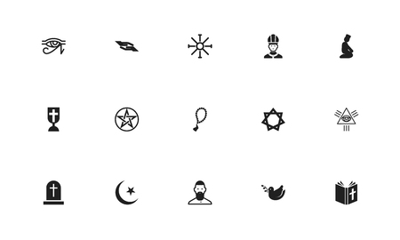Set of editable dyne icons. Includes symbols such as mullah, blessing, beads and more. Can be used for web, mobile, UI and infographic design.