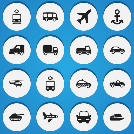 Set of editable transport icons. Includes symbols such as plane, trainer cabin, cart and more. Can be used for web, mobile, UI and infographic design.