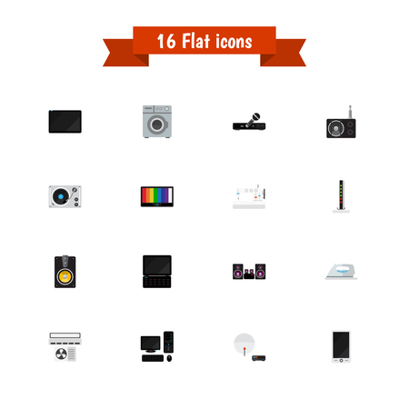 Set of 16 editable tech icons flat style. Includes symbols such as karaoke system, laptop, dressmaking and more. Can be used for web, mobile, UI and infographic design.