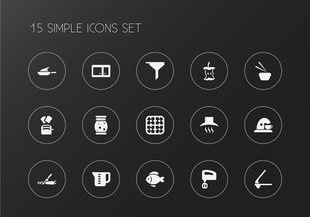 Set of 15 editable meal icons. Includes symbols such as roast chicken, coffee maker, measuring cup and more. Can be used for web, mobile, UI and infographic design.