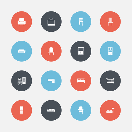 Set of 16 editable furnishings icons. Includes symbols such as bench, davenport, lounge and more. Can be used for web, mobile, UI and infographic design. Stock Photo