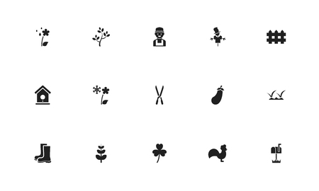 Set of 15 editable agriculture icons. Includes symbols such as decorative, plant cutter, frond and more. Can be used for web, mobile, UI and infographic design.