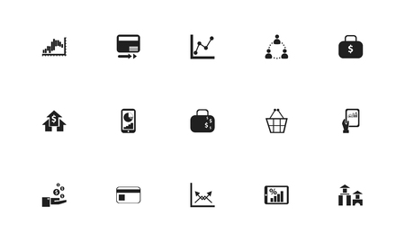 Set of 15 editable statistic icons. Includes symbols such as info-graphic, diagram, paying cash and more. Can be used for web, mobile, UI and info-graphic design.