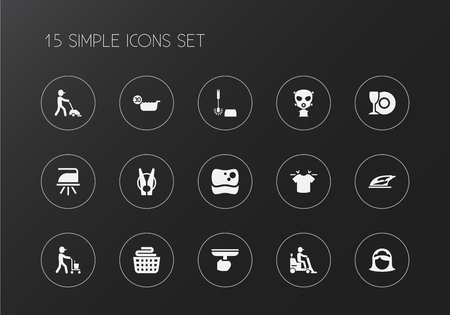 Set of 15 editable cleanup icons. n.