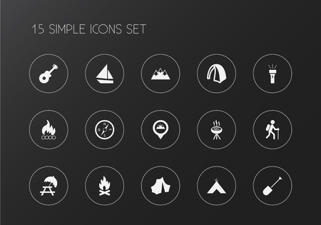 Set of 15 editable trip icons. Includes symbols such as peak, boat, bbq and more. Can be used for web, mobile, UI and infographic design.