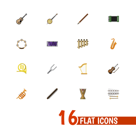 Set of 16 editable music icons flat style. Includes symbols such as french horn, guitar, clarinet and more. Can be used for web, mobile, UI and infographic design.