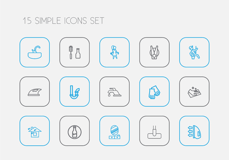 Set of 15 editable cleaning icons line style. Includes symbols such as drainpipe, skyscraper, wall mirror and more. Can be used for web, mobile, UI and infographic design. Illustration