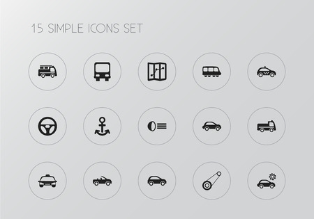 Set of 15 editable shipment icons. Includes symbols such as automobile, cab, lorry and more. Can be used for web, mobile, UI and infographic design.