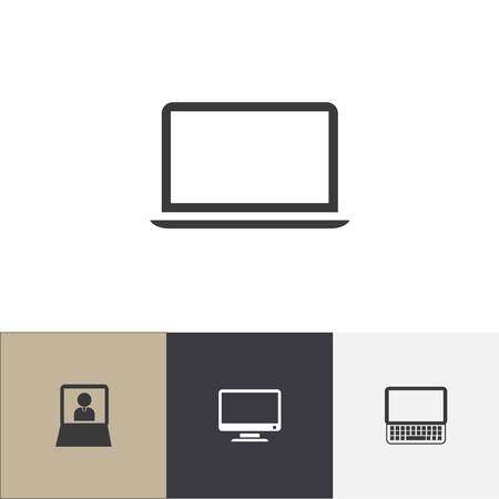 Set of 4 editable gadget icons. Includes symbols such as display, computer, monitor and more. Can be used for web, mobile, UI and infographic design.