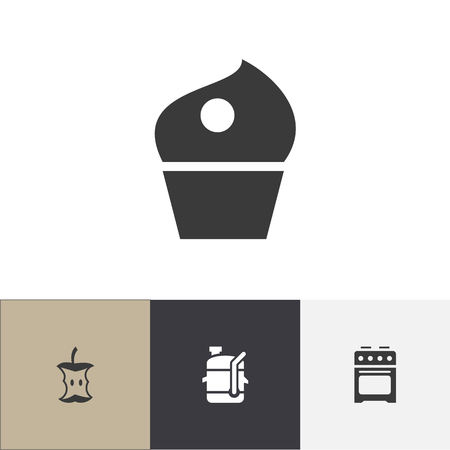 Set of 4 editable cooking icons. Includes symbols such as apple core, cooker, juicer and more. Can be used for web, mobile, UI and infographic design.