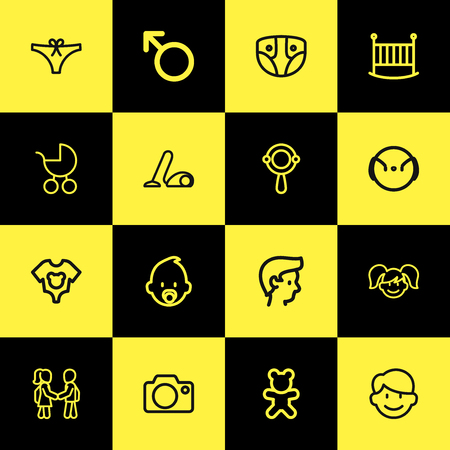 Set of 16 editable family icons line style. Includes symbols such as camera, teddy bear, guy and more. Can be used for web, mobile, UI and infographic design. Banque d'images - 103475610