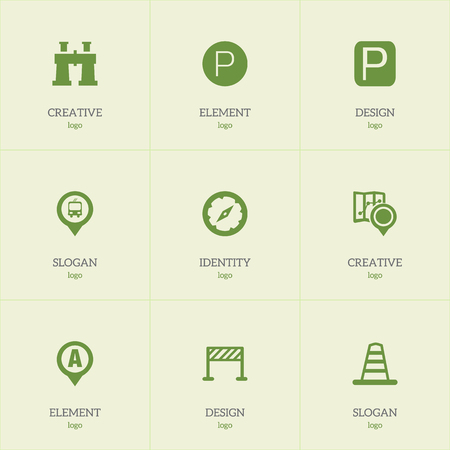 Set of 9 editable direction icons. Includes symbols such as warning cone, parking, bus stop pin and more. Can be used for web, mobile, UI and infographic design.