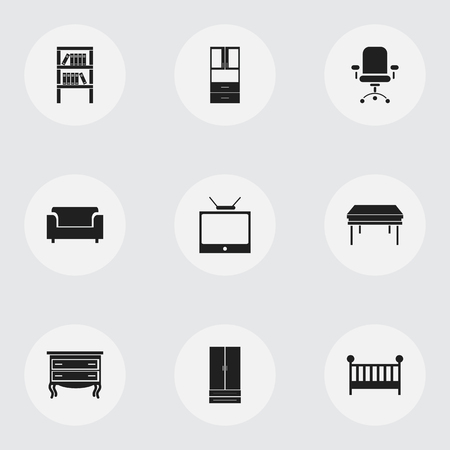 Set of 9 editable furniture icons. Includes symbols such as drawer chest, canape, tv and more. Can be used for web, mobile, UI and infographic design. Stock Illustratie