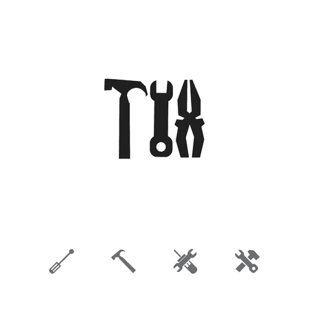 Set of 5 editable repair icons. Includes symbols such as turn screw, work equipment, screwdriver spanner and more. Can be used for web, mobile, UI and infographic design.