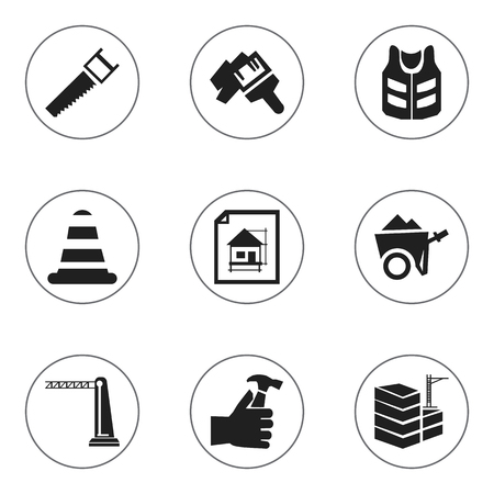 Set of 9 editable construction icons. Includes symbols such as saw, home scheduling, hammer in hand. Can be used for web, mobile, UI and infographic design.
