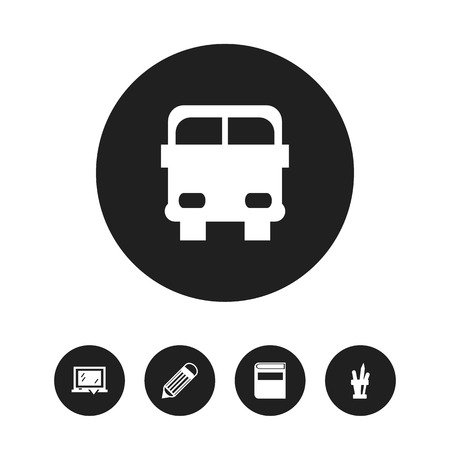 Set of 5 editable knowledge icons. Includes symbols such as blackboard, literature, transport vehicle and more. Can be used for web, mobile, UI and infographic design.