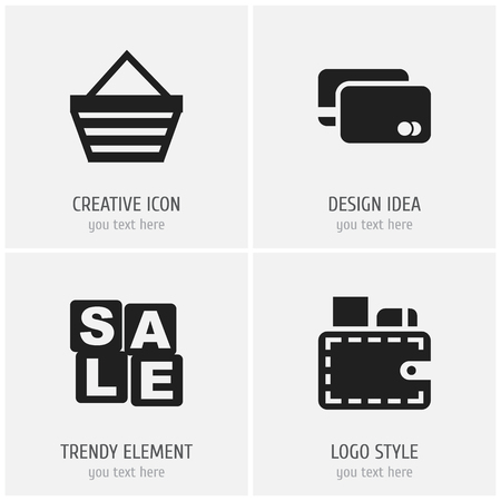 Set of 4 editable business icons. Includes symbols such as advertising, wallet, shopping case and more. Can be used for web, mobile, UI and infographic design. Ilustração