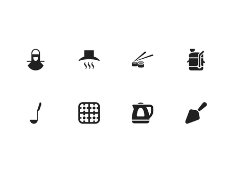 Set of 8 editable cook icons. Includes symbols such as stove, mezzaluna knife, electric kettle and more. Can be used for web, mobile, UI and infographic design. Ilustração