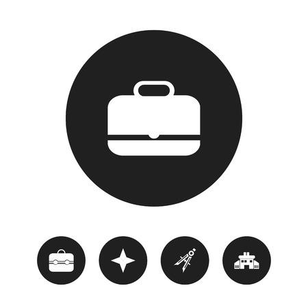Set of 5 editable education icons. Includes symbols such as briefcase, infant school, suitcase and more. Can be used for web, mobile, UI and infographic design.
