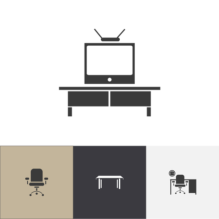 Set of 4 editable interior icons. Includes symbols such as stool, television, bureau and more. Can be used for web, mobile, UI and infographic design.